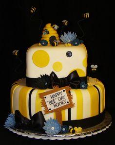 "Happy ""BEE"" Day Honey Cake i like the stripes Bee Birthday Cake, Adult Birthday Cakes, Birthday Ideas, Cupcakes, Cupcake Cakes, Bee Hive Cake, Teacher Cakes, Alice In Wonderland Cakes, Honey Cake"
