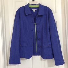 Coldwater Creek Blue Violet Jacket with Lime Green Interior trim! Size 16 / XL for $40.00. Check it out: http://www.vinted.com/womens-clothing/other-coats-and-jackets/21374653-coldwater-creek-blue-violet-jacket-with-lime-green-interior-trim.