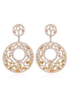 "Create a show stopping look with Haute Vault's large and striking, circular filigree drop earrings. Sumptuous white and multi color fancy diamonds are showcased beautifully in a rose gold setting. With 15 carats of illustrious diamonds, you can enhance any little black dress or your fanciest ball gown. Measures 2 1/2"" long"