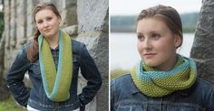 Pretty two-tone cowl pattern compliments of classic Elite Yarns (and their yarn is simply fab, too)!