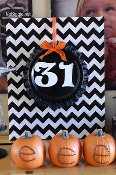 #Halloween decor NoBiggie.net - Love the black chevron & pumpkins!