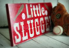 LITTLE SLUGGER - Baseball.Sports - Hand painted and distressed wood sign - 9 1/4 x 24