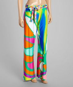 Look what I found on #zulily! Blue & Pink Tropicalia Pants by Trina Turk #zulilyfinds
