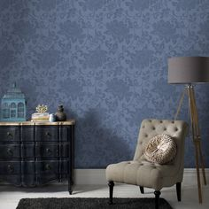 Jacquard Blue Wallpaper - Blue Floral Wall Coverings by Graham  Brown