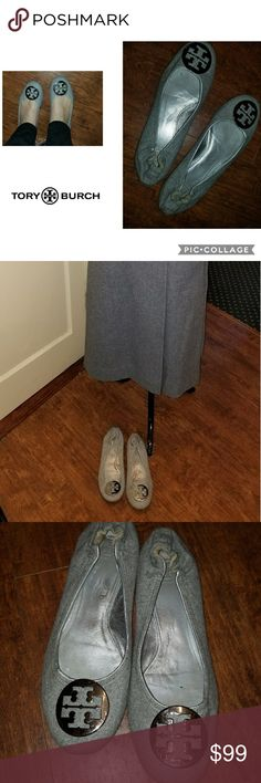 Tory Burch Gray felt flats 10 These are my own shoes which were hardly worn as you can see.  They are a size 10.5 but will never fit a 10.5 as I wear a 9.5 or 10 and they just fit me.excellent condition / authentic.No box. Tory Burch Shoes Flats & Loafers