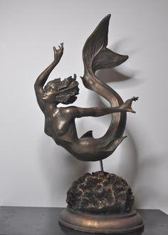 Mermaid Statue by Dellamorteco on Etsy, $80.00