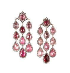 Parulina - Arabian Nights Collection. Yellow and White Gold with Multi-Tonal Pink Tourmalines and Diamonds.
