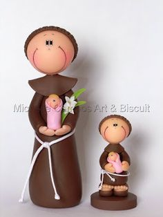 Michelle Campos Art & Biscuit: Santinhos de biscuit Polymer Clay Projects, Clay Crafts, Arts And Crafts, Christmas Crafts, Christmas Ornaments, Pasta Flexible, Cold Porcelain, Cake Toppers, Fondant