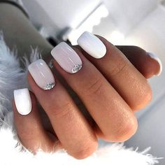 What manicure for what kind of nails? - My Nails Cute Acrylic Nails, Cute Nails, Gel Nails, Glitter Nails, Coffin Nails, White Shellac Nails, White Manicure, Pastel Nail, Acrylic Art