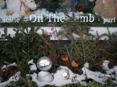 Winter window - pretty planter by my friend Pat! Christmas Wreaths, Christmas Bulbs, Lamb, Planters, Windows, Holiday Decor, Winter, Pretty, Winter Time