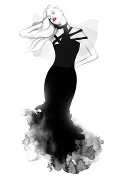 Will Ev, aka Nazgrelle is an artist based in Malaysia. He created incredible fashion illustrations in watercolor style using and Bamboo Wacom Tablet with Photo References. Illustration Mode, Fashion Illustration Sketches, Photo Illustration, Fashion Sketches, Grey Fashion, Timeless Fashion, Fashion Art, Fashion Design, Fashion Women