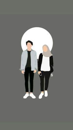 Cute Couple Drawings, Cute Couple Cartoon, Cute Couple Art, Cute Love Cartoons, Cute Couple Wallpaper, Cute Patterns Wallpaper, Cover Wattpad, Islamic Cartoon, Cute Muslim Couples