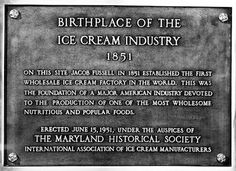 Baltimore, the Birthplace of the American Ice Cream Industry! Ice cream plaque at Hillen and Exeter streets. (BGE Collection, Baltimore Museum of Industry) Baltimore City, Baltimore Maryland, Baltimore Orioles, Cumberland Maryland, Ice Cream Factory, Chesapeake Bay, Exeter, History Facts, Vintage Photographs