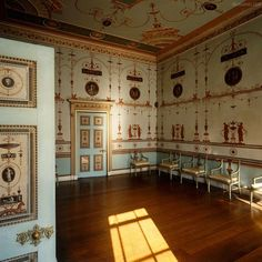 a patch of sunlight illumines the Etruscan Room at Osterley Park designed by Robert Adam in Middlesex in 1761