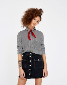 Long sleeve printed shirt - Clothing - Mid Season Sale - Woman - PULL&BEAR Finland