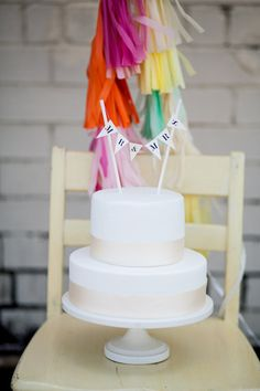 A simple cake topper adds a festive touch.