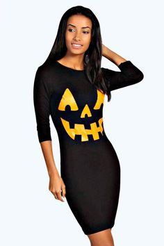 boohoo Hayley Pumpkin Print Halloween Bodycon Dress