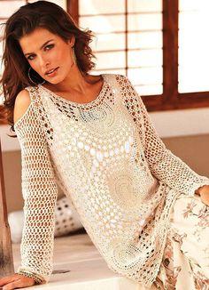 Boho crochet tunic PATTERN (sizes XS-3XL), detailed TUTORIAL in English, cold shoulder crochet tunic pattern, designer tunic crochet pattern