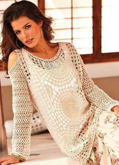 Boho crochet tunic PATTERN sizes XS-3XL
