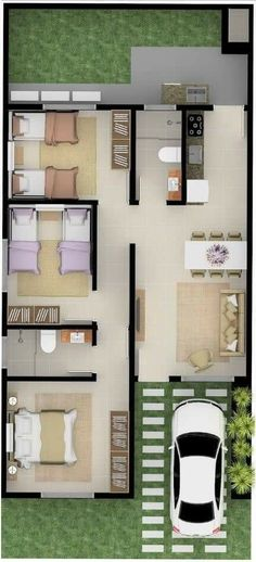 House design with 3 Bedrooms Hip roof - House Plans Sims House Plans, House Layout Plans, Dream House Plans, Modern House Plans, House Layouts, Small House Plans, House Floor Plans, Simple House Design, Modern House Design