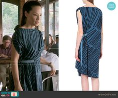 Joan's blue and black stripe printed dress on Elementary.  Outfit Details: http://wornontv.net/54413/ #Elementary (worn backwards)