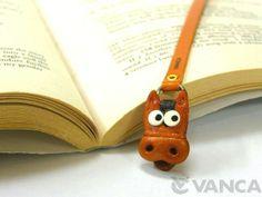 Horse Handmade Leather Animal Bookmark/Bookmarker *VANCA* Made in Japan #26105