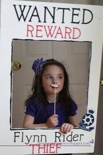 Photo prop: Tangled Rapunzel party wanted poster photo op with noses