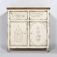 #Buffet #baroque effet ancien. Meuble bicolore #blanc avec plateau en bois naturel.