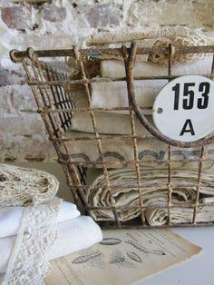 Antique Wire Basket, Vintage Lace & Linens, Vintage Botanical Prints