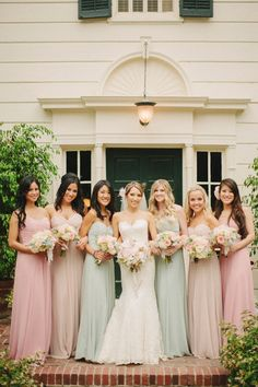 "Hi Amanda! Thank you! The bridesmaid dresses were from the Dessy After Six Collection, style 6639. The pink color was called ""Rose"", the beige was ""Cameo"", and the minty green was called ""Celadon""."