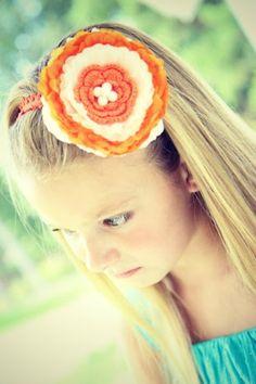 Orange and White Lace Flower Headband