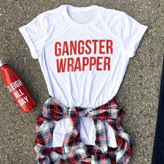 gangster wrapper tee - Holiday Shirts - Ideas of Holiday Shirts - boyrriend fit. Christmas Shirts, Christmas Shopping, Christmas And New Year, Christmas Music, Christmas Time, Xmas Shirts, Christmas Outfits, Fall Shirts, Christmas Recipes