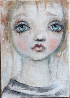 original girl portrait sweet painting    5X7 k d by fadedwest
