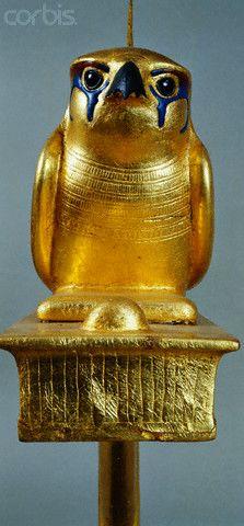 Detail of Gold Standard of King Tutankhamun with Gemehsu Falcon