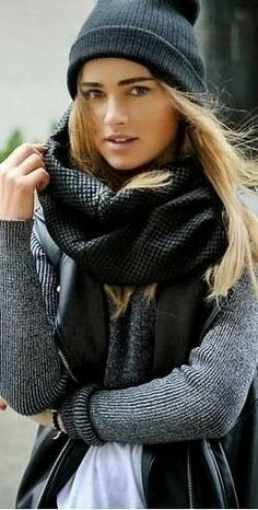 Sleevless leather jacket grey sweater with scarf