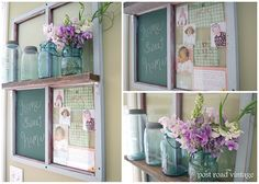 window picture frame chalkboard shelf, how is that for multipurpose?!