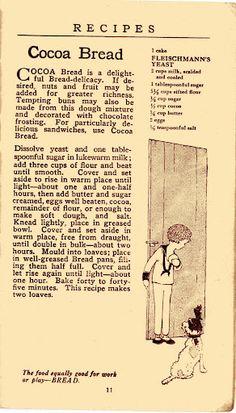 """""""Cocoa Bread is a delightful Bread-delicacy."""" Vintage Recipe Booklet"""