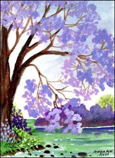 Original Art - Jacaranda Tree,  Stream, Grass, Flowers - Patricia Ann Rizzo
