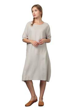 JW Womens Fashion Linen Cotton Long Dress Soft Plus Size