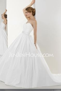 Wedding Dresses - $172.99 - A-Line/Princess Sweetheart Chapel Train Satin Wedding Dresses With Ruffle  Beadwork (002004538) http://jenjenhouse.com/A-line-Princess-Sweetheart-Chapel-Train-Satin-Wedding-Dresses-With-Ruffle--Beadwork-002004538-g4538