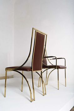 Stunning set of 8 dining chairs by Renato Zevi in brown calf leather, Italy | From a unique collection of antique and modern dining room chairs at http://www.1stdibs.com/furniture/seating/dining-room-chairs/