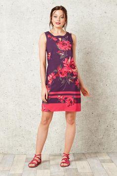 Rochie sic, de vara, cu imprimeu floral violet-roz - Rochii - Rochii de primavara-vara Violet, Floral, Casual, Dresses, Fashion, Vestidos, Moda, Fashion Styles, Flowers