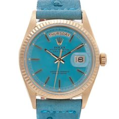 ROLEX Turquoise-Blue Enamel Lacquer Dial & Yellow Gold Day-Date    1970
