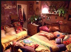 hippie, boho, bohemian, bedroom, home, room, decor. A tad cluttered for my liking, but the patterns are awesome.