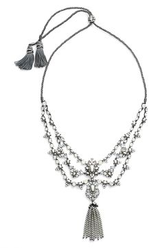 Obsessing over this intricate necklace from the NSale! It features scores of luminous glass pearls, faceted crystals, gently twisted rope chains, a dramatic tassel pendant, and fluffy tassels.