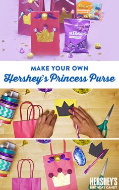Create birthday goodie bags fit for a princess with this fun and easy craft project. What does a princess keep in her purse? The possibilities are endless, but an assortment of HERSHEY'S Birthday candy is a must. Let's Birthday!