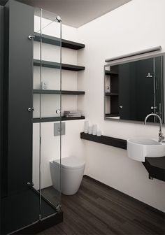 For downstairs bath: corner mount sink could be placed in the wall by the door if the sink and toilet locations were reversed also the idea of engaging the counter with the sink but not surrounding it