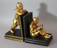 Antique-Art-Deco-Ronson-Gold-Gilt-amp-Bronzed-Spelter-Oriental-Children-Bookends