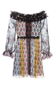 GIAMBA Off The Shoulder Floral Mini Dress. #giamba #cloth #dress