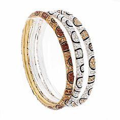 @Overstock - Nexte Jewelry three piece bangle bracelet set in stone encrusted animal print patterns. Coming in white, champagne and smokey yellow color rhinestones. These stackable bracelests have both a white rhodium and 14-karat gold overlay finish.http://www.overstock.com/Jewelry-Watches/Nexte-Jewelry-Stone-Encrusted-Leopard-Skin-Pattern-Bracelets-Set-of-3/6727886/product.html?CID=214117 $54.99
